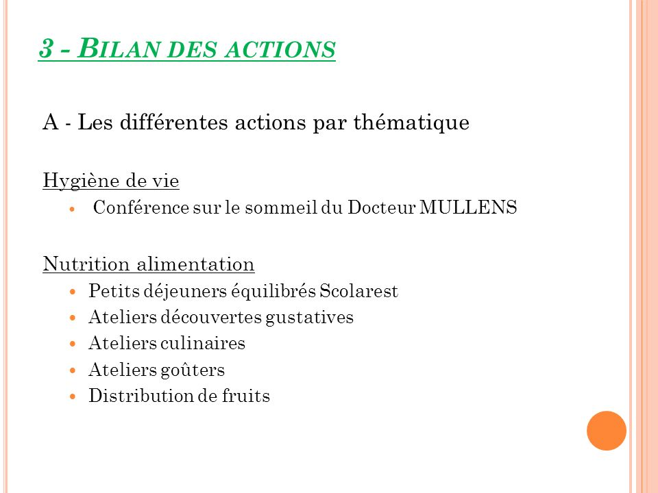 3 - Bilan des actions A - Les différentes actions par thématique