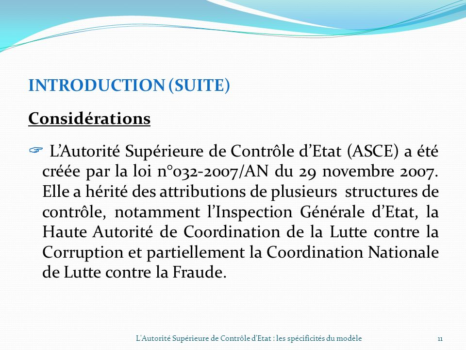 INTRODUCTION (SUITE) Considérations