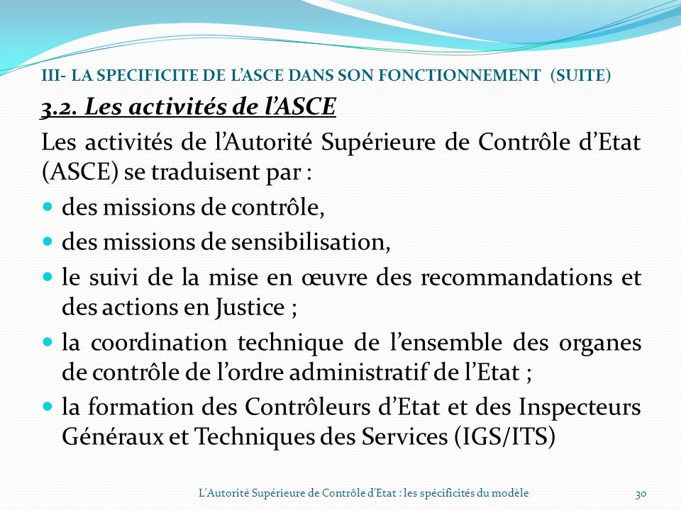 3.2. Les activités de l'ASCE