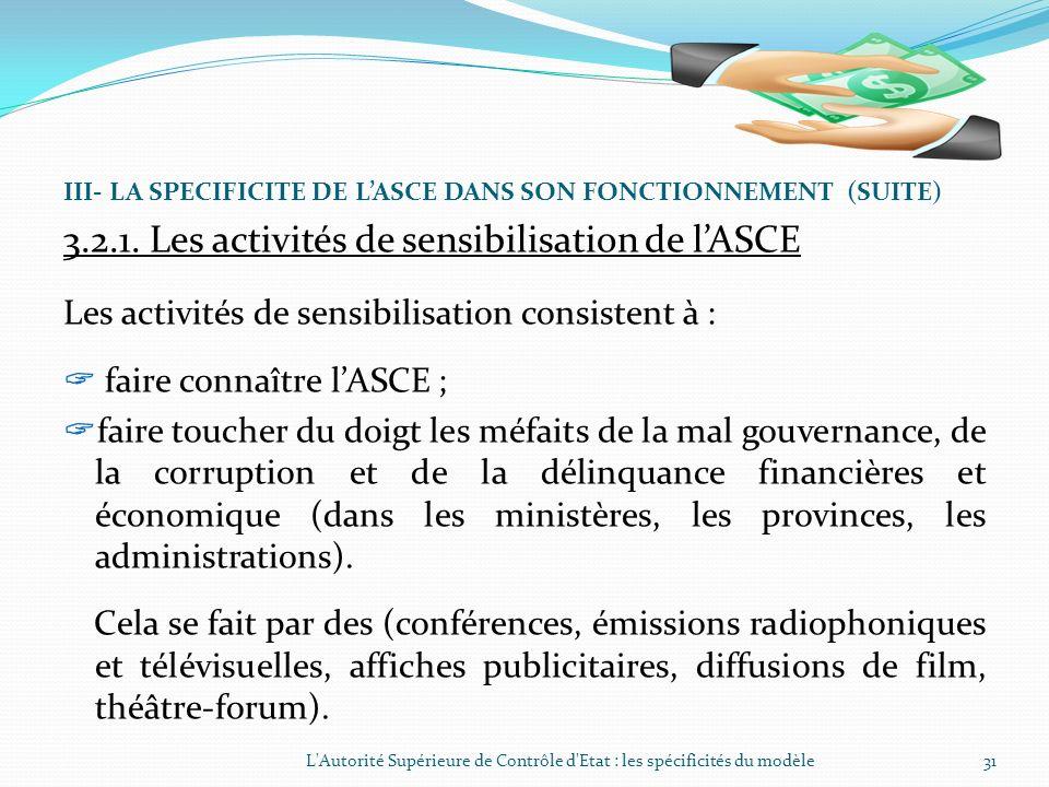3.2.1. Les activités de sensibilisation de l'ASCE