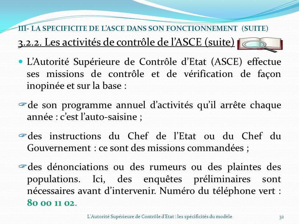 3.2.2. Les activités de contrôle de l'ASCE (suite)