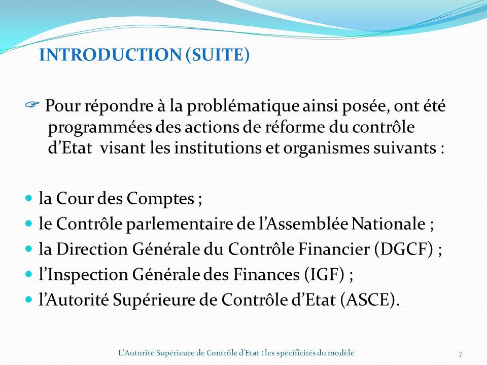 le Contrôle parlementaire de l'Assemblée Nationale ;
