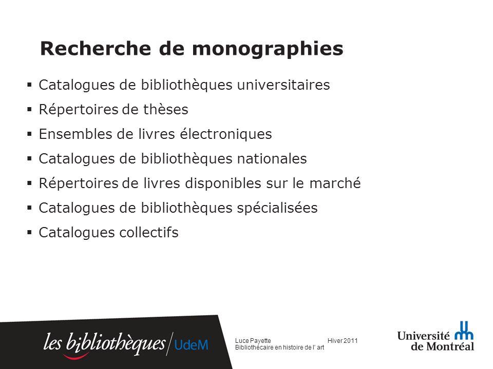 Recherche de monographies