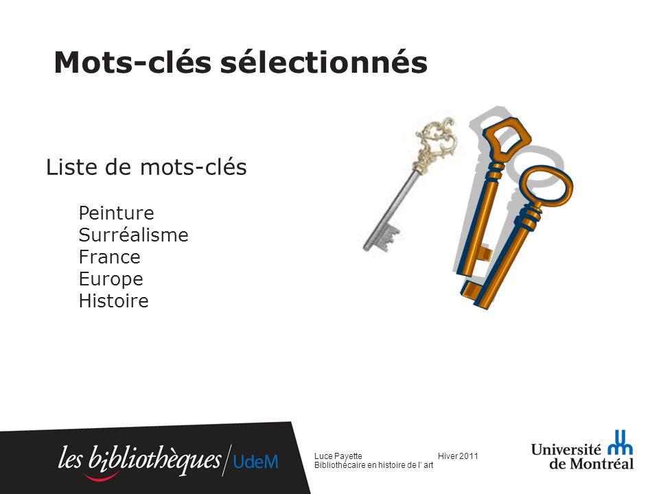 Mots-clés sélectionnés