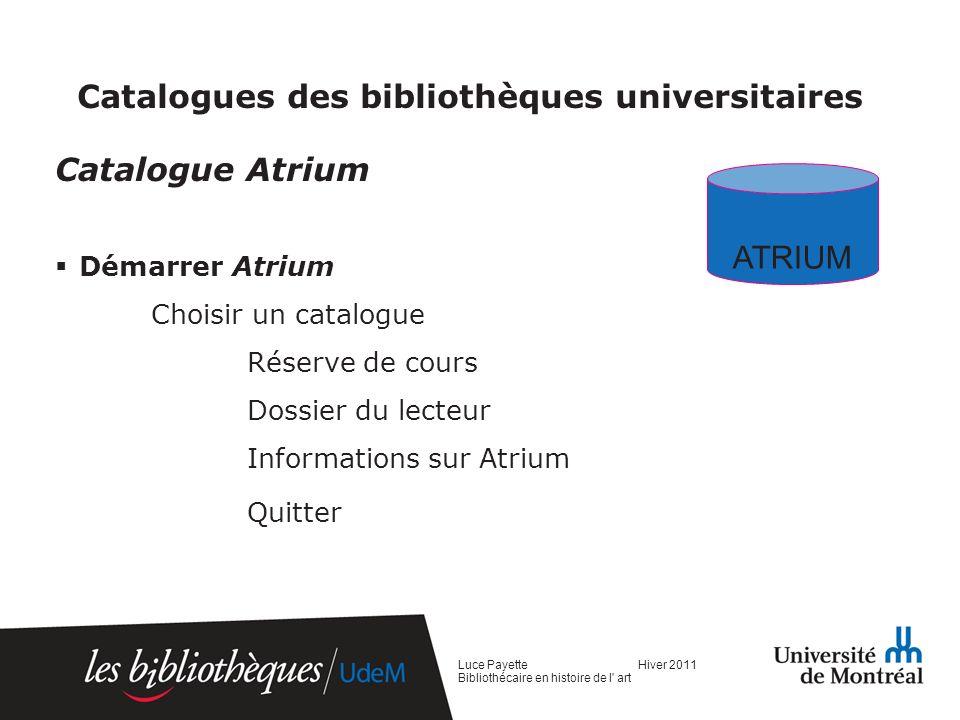 Catalogues des bibliothèques universitaires