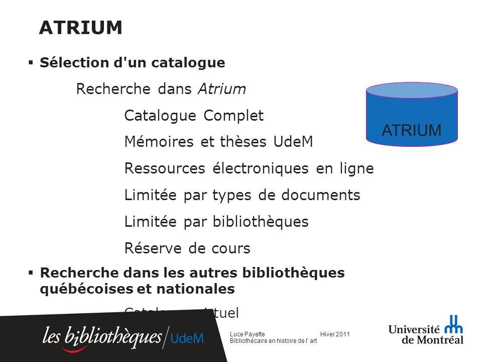 ATRIUM ATRIUM Recherche dans Atrium Catalogue Complet