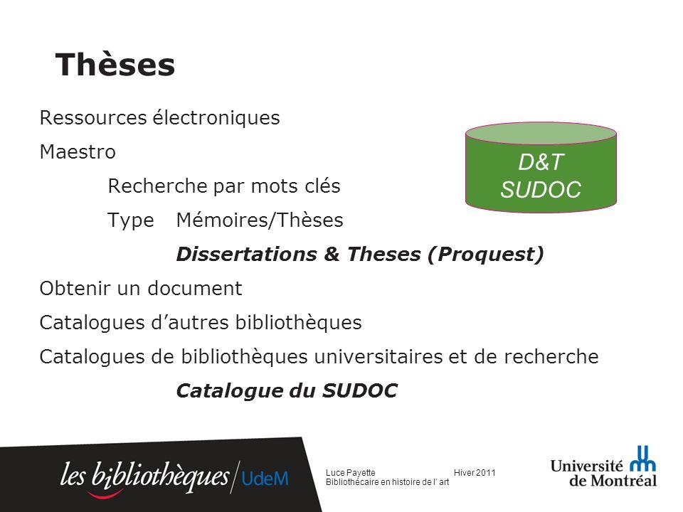 Thèses D&T SUDOC Ressources électroniques Maestro