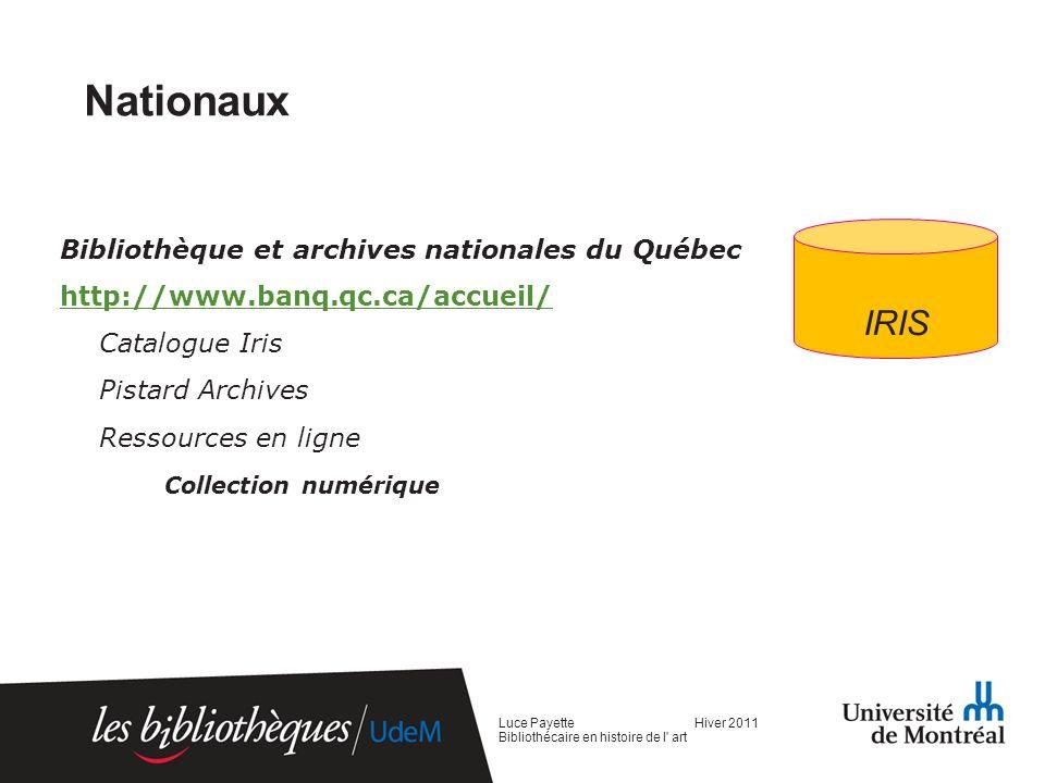 Nationaux IRIS Bibliothèque et archives nationales du Québec