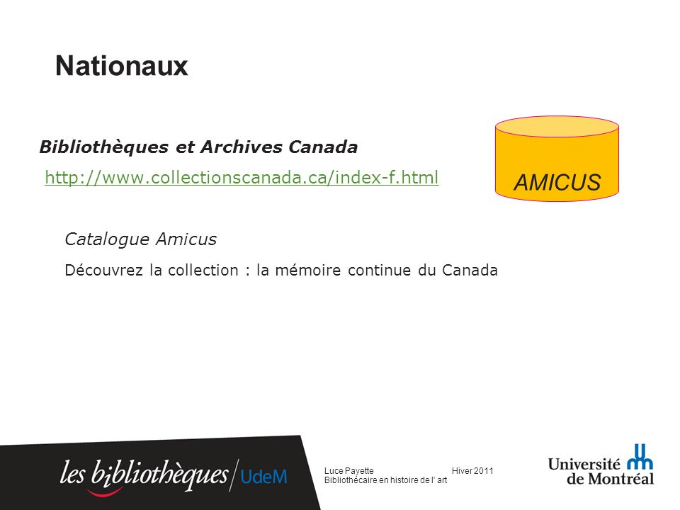 Nationaux AMICUS Bibliothèques et Archives Canada