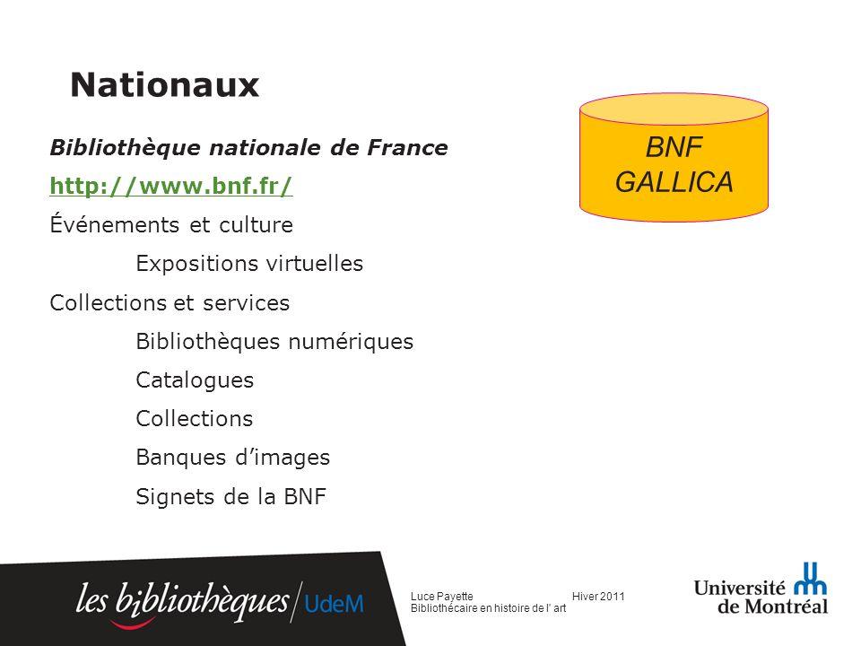 Nationaux BNF GALLICA Bibliothèque nationale de France
