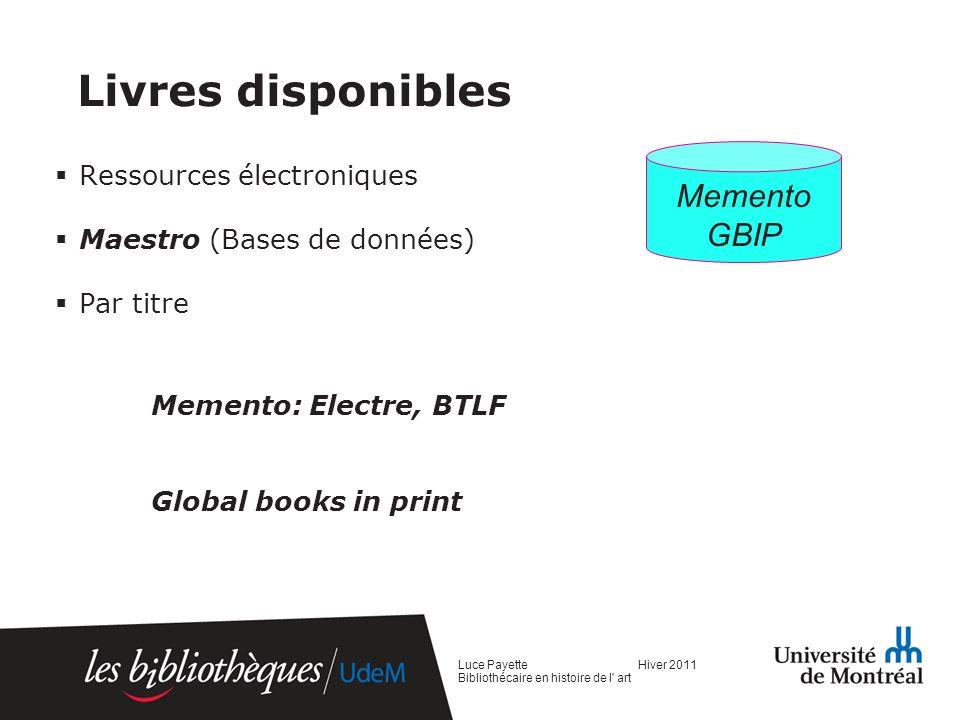 Livres disponibles Memento GBIP Ressources électroniques