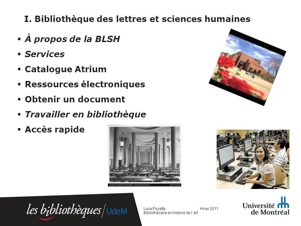 I. Bibliothèque des lettres et sciences humaines