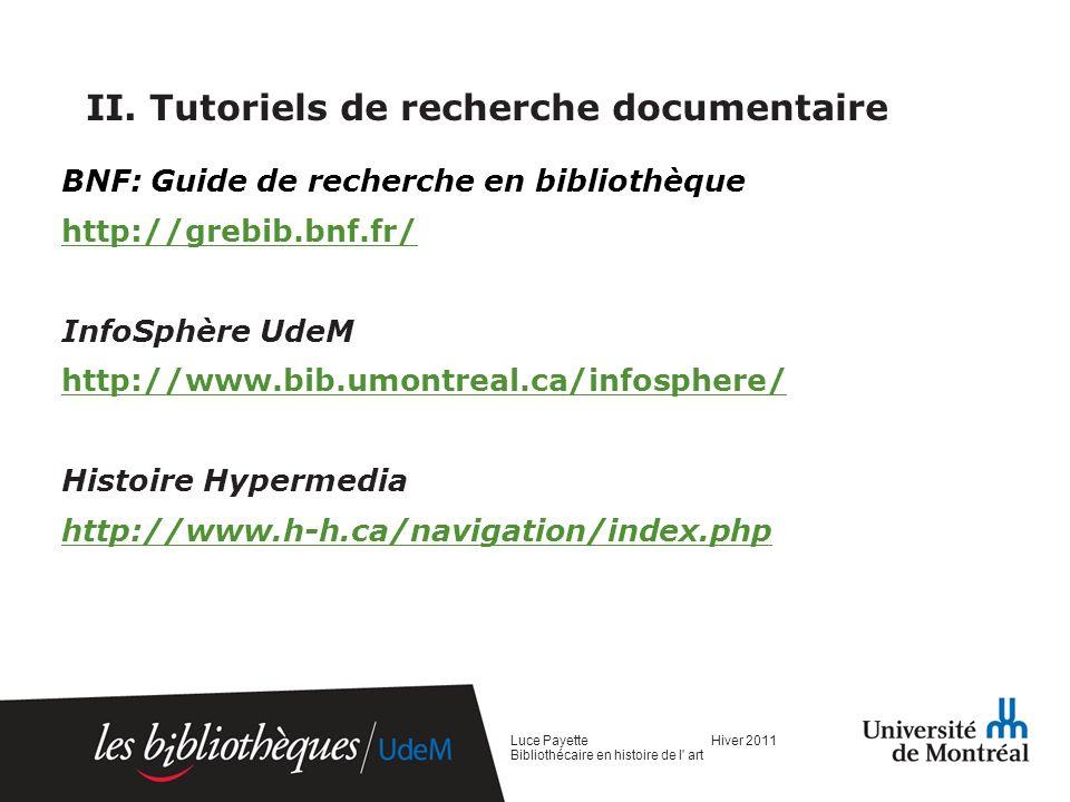 II. Tutoriels de recherche documentaire