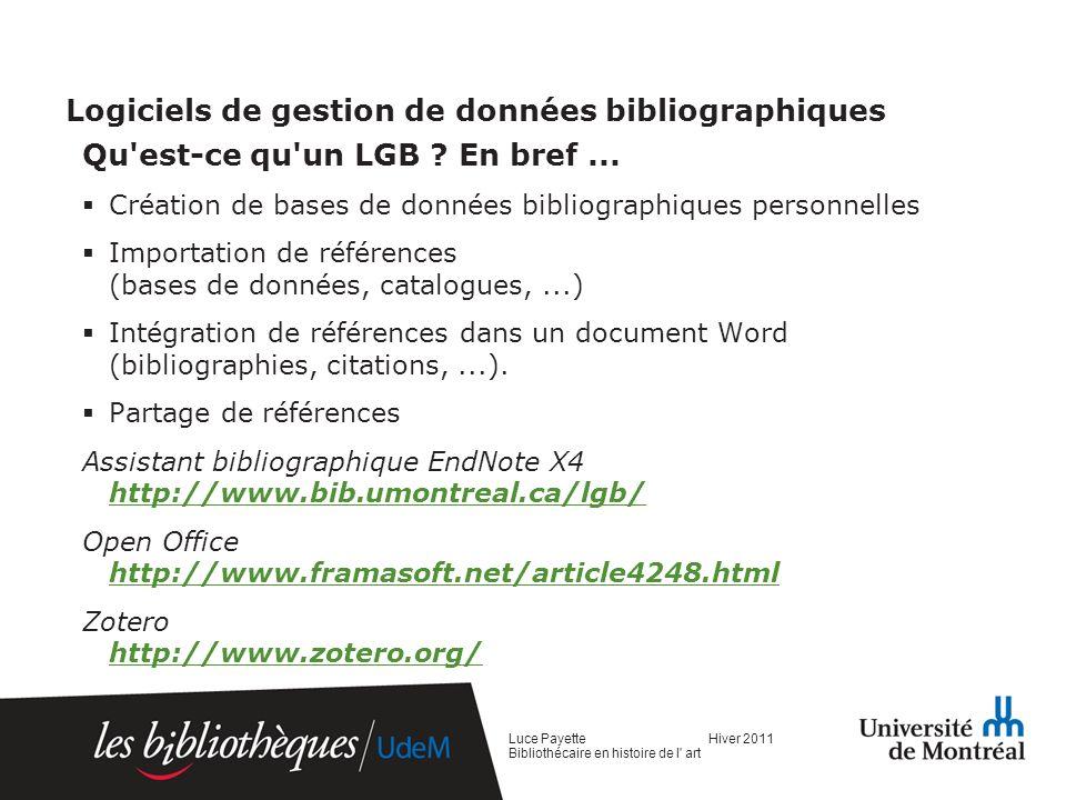 Logiciels de gestion de données bibliographiques