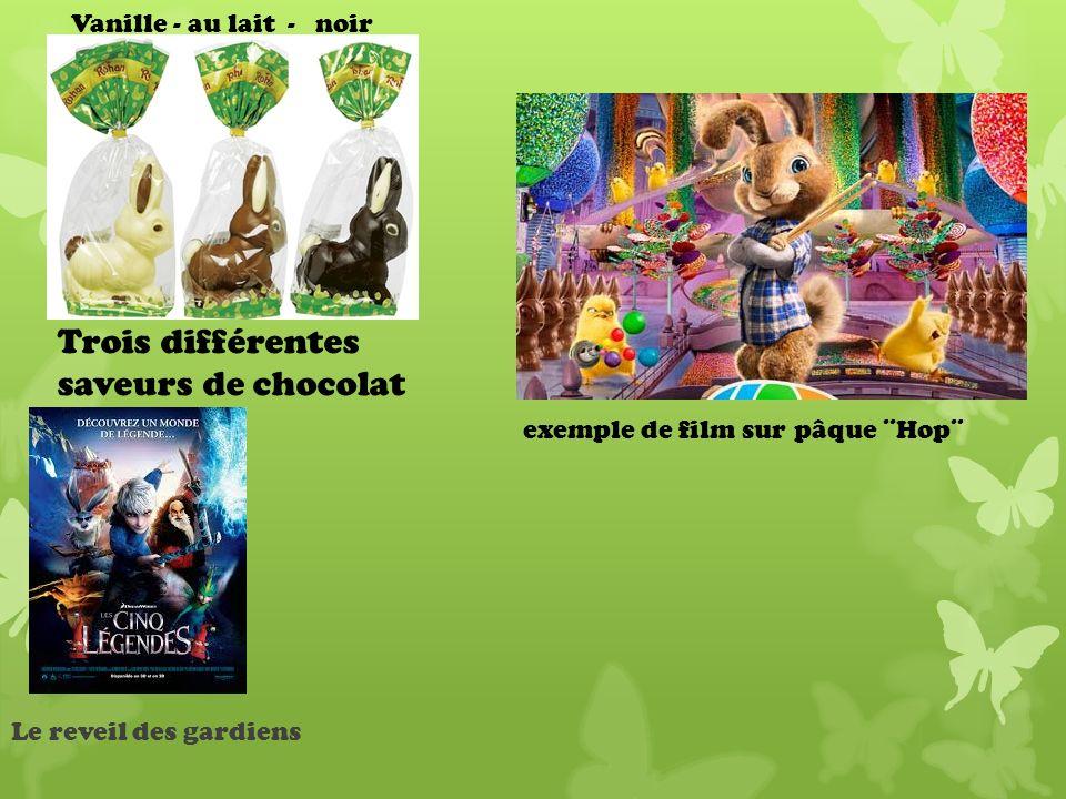 Trois différentes saveurs de chocolat