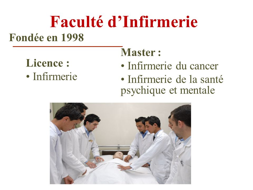 Faculté d'Infirmerie Fondée en 1998 Master : • Infirmerie du cancer