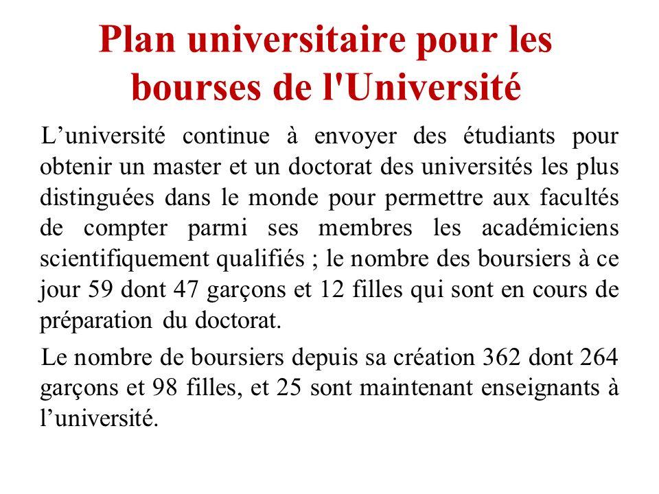 Plan universitaire pour les bourses de l Université