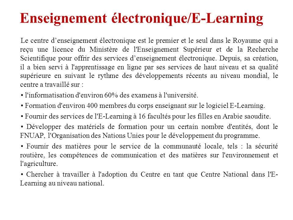 Enseignement électronique/E-Learning