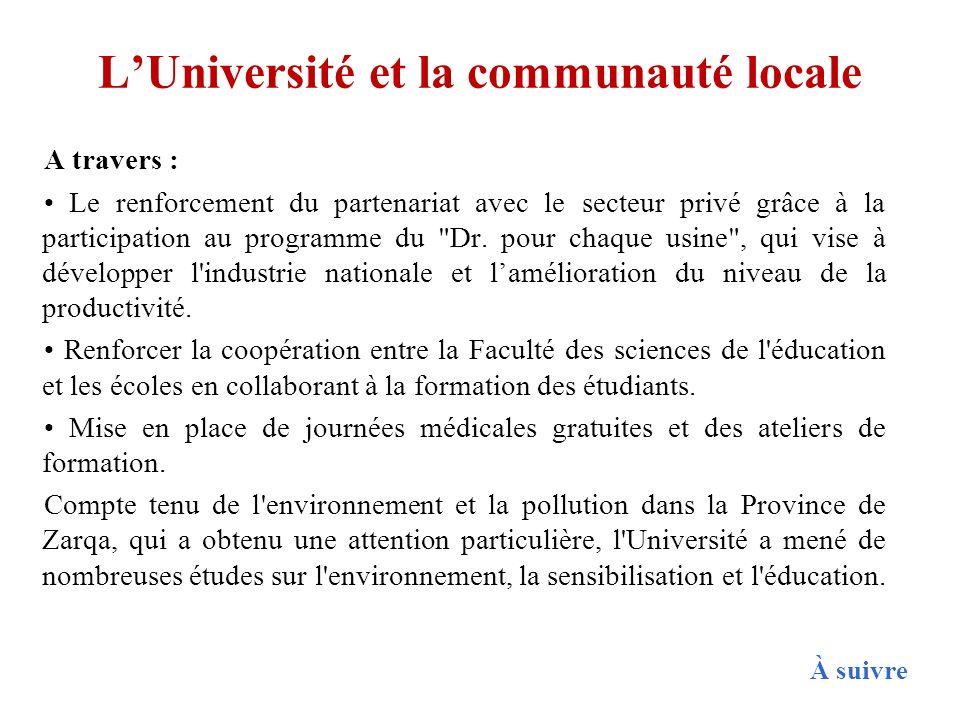 L'Université et la communauté locale