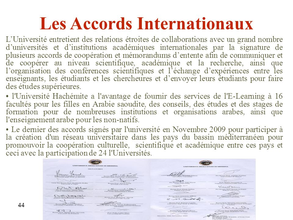 Les Accords Internationaux