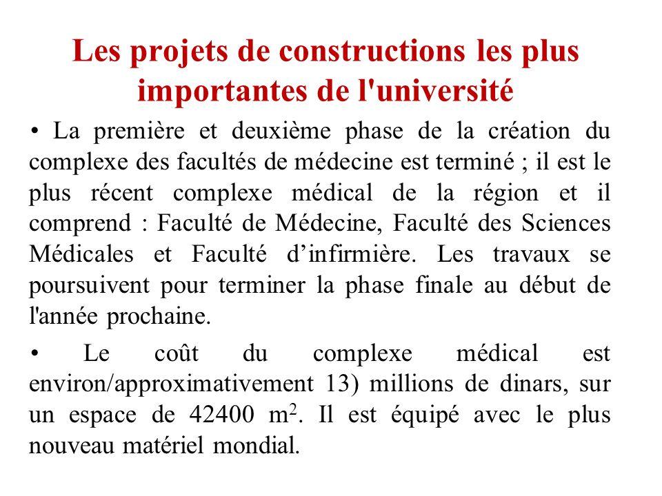 Les projets de constructions les plus importantes de l université