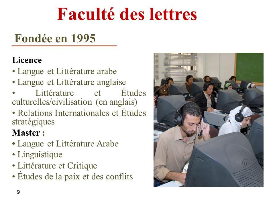 Faculté des lettres Fondée en 1995 Licence