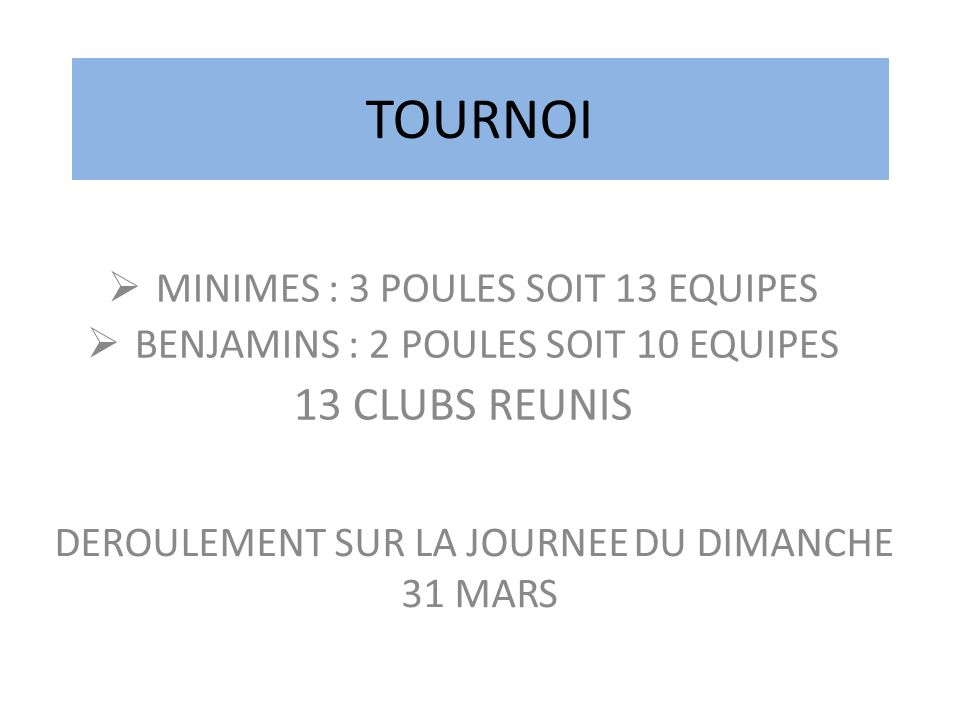 TOURNOI 13 CLUBS REUNIS MINIMES : 3 POULES SOIT 13 EQUIPES