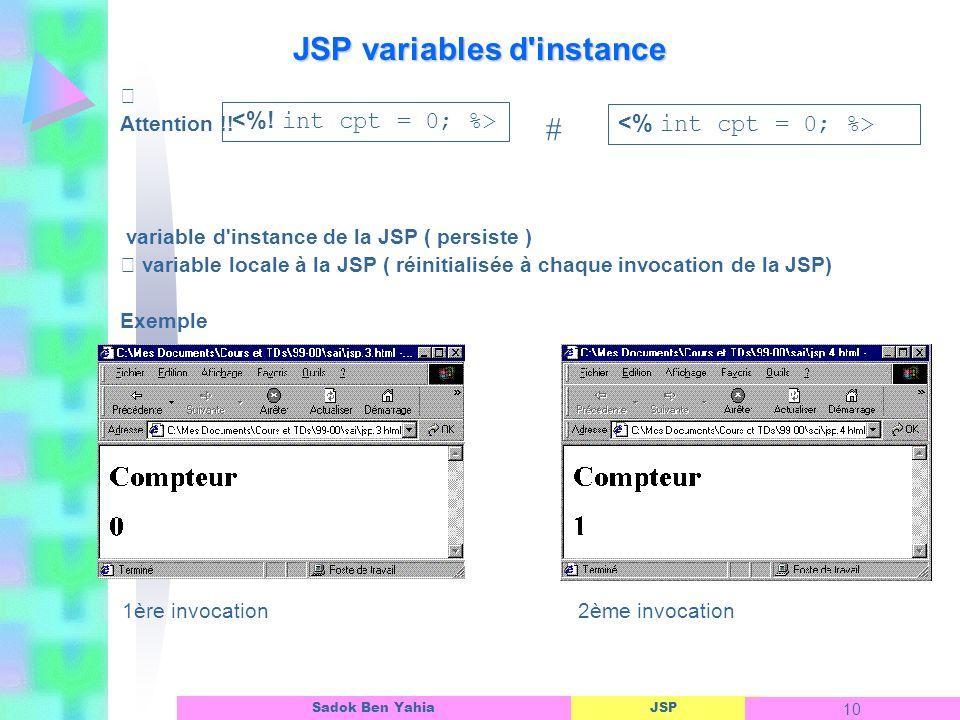 JSP variables d instance