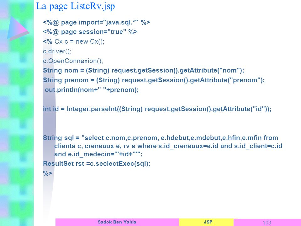 La page ListeRv.jsp