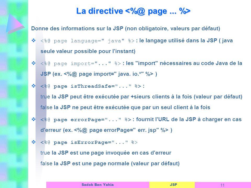 La directive <%@ page ... %>