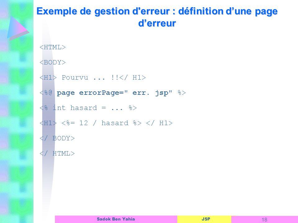 Exemple de gestion d erreur : définition d'une page d'erreur