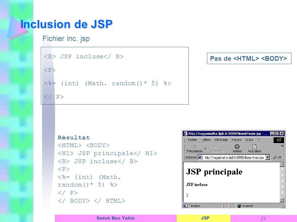 Inclusion de JSP Fichier inc. jsp <B> JSP incluse</ B>
