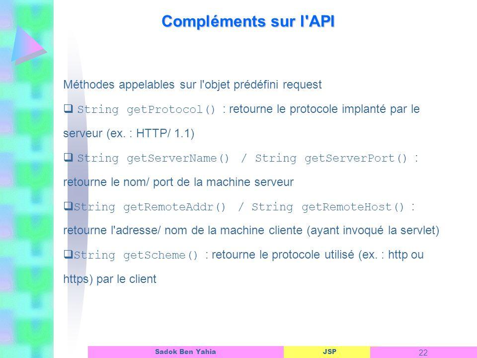 Compléments sur l API Méthodes appelables sur l objet prédéfini request.