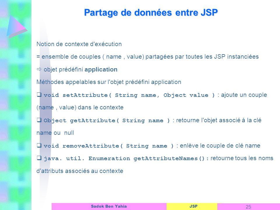 Partage de données entre JSP