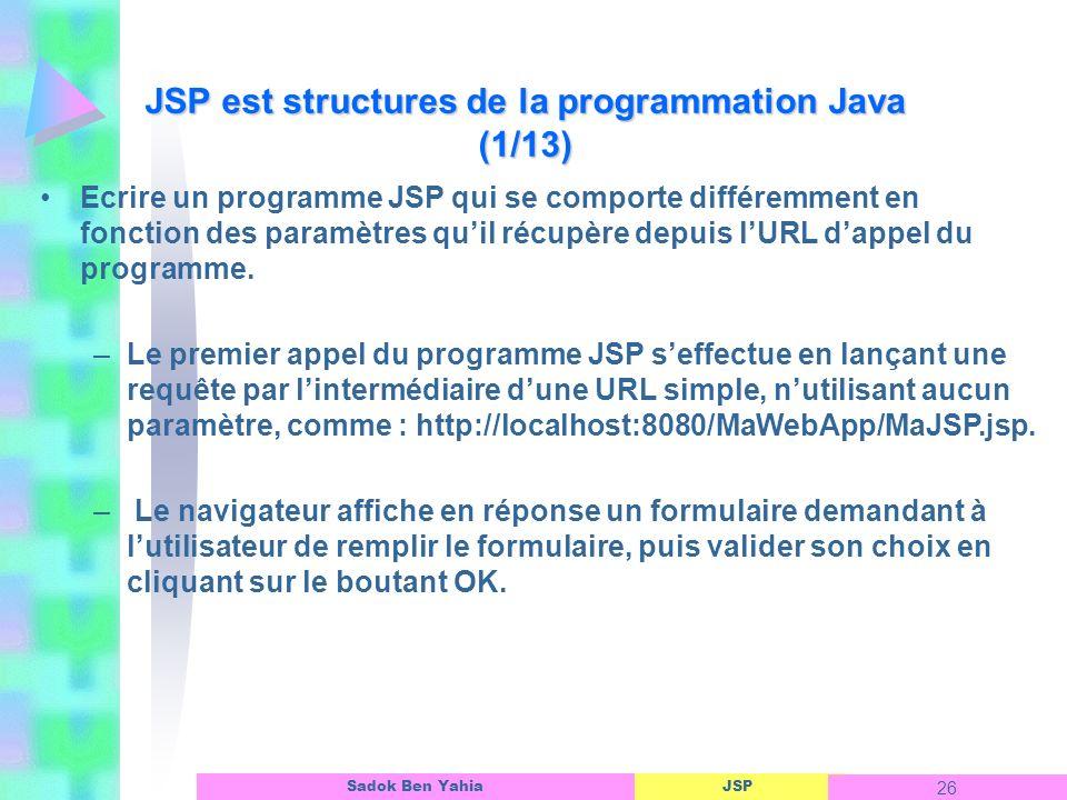 JSP est structures de la programmation Java (1/13)