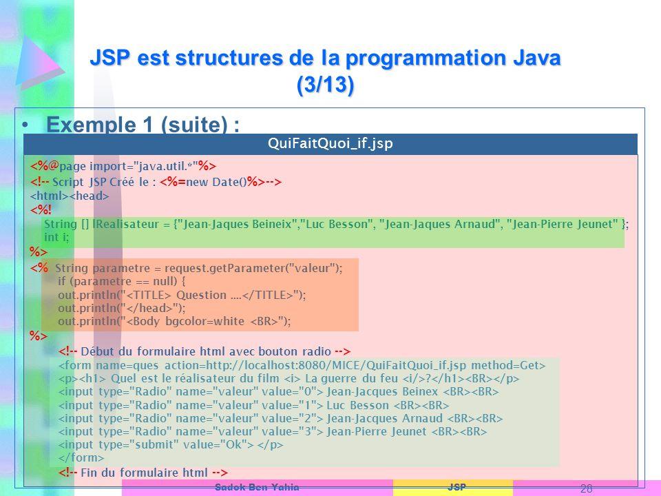 JSP est structures de la programmation Java (3/13)