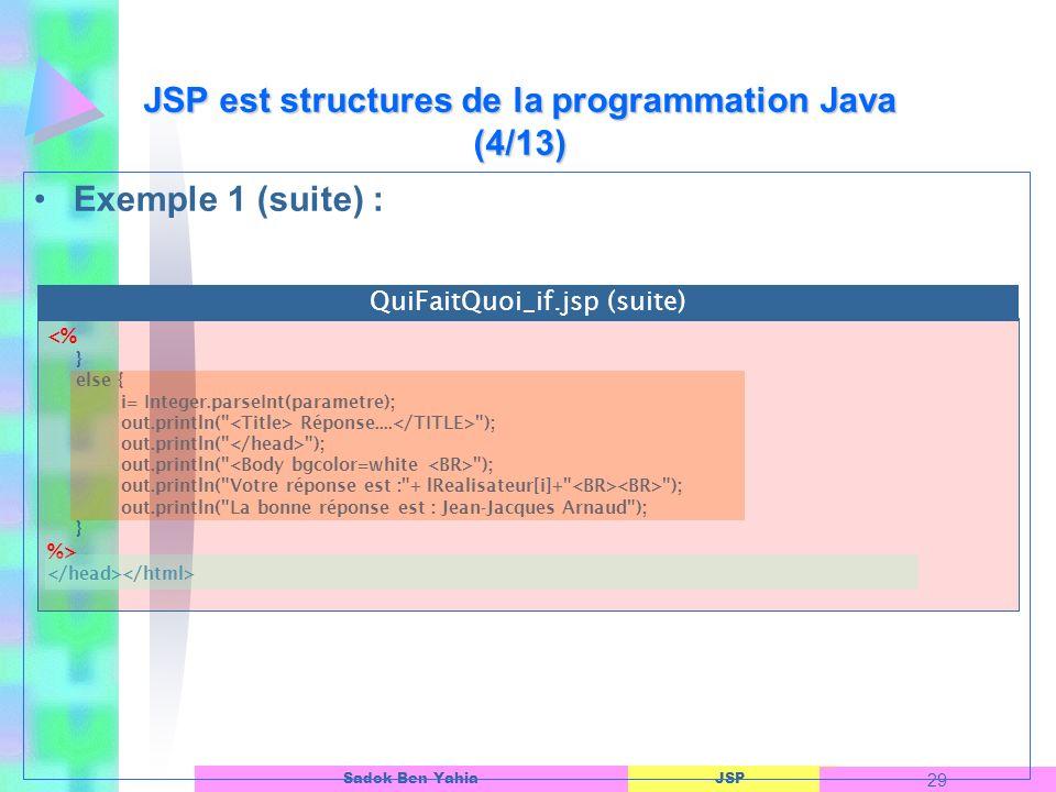 JSP est structures de la programmation Java (4/13)