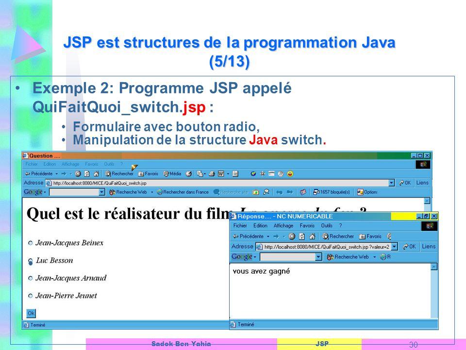JSP est structures de la programmation Java (5/13)