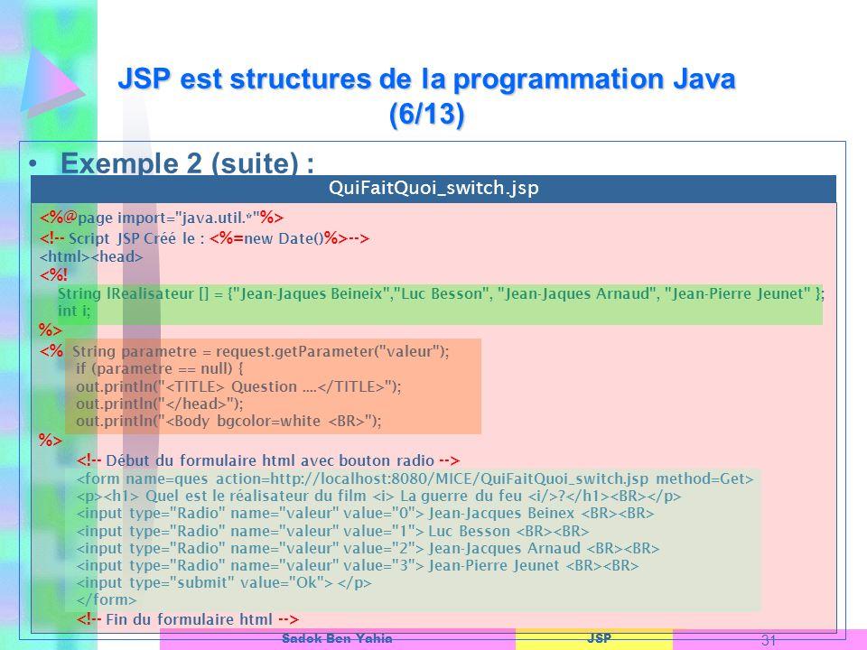 JSP est structures de la programmation Java (6/13)