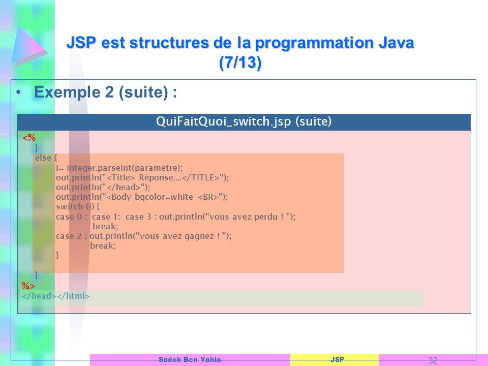 JSP est structures de la programmation Java (7/13)