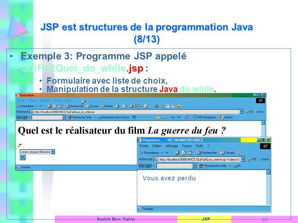 JSP est structures de la programmation Java (8/13)
