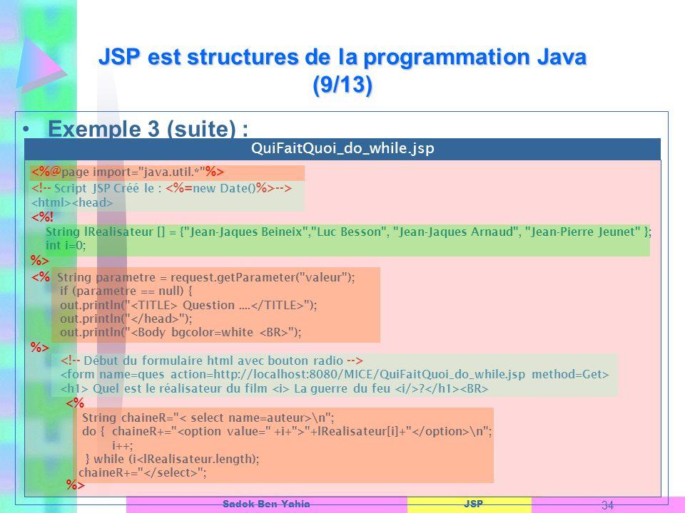 JSP est structures de la programmation Java (9/13)