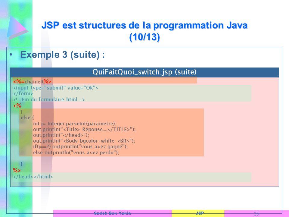 JSP est structures de la programmation Java (10/13)