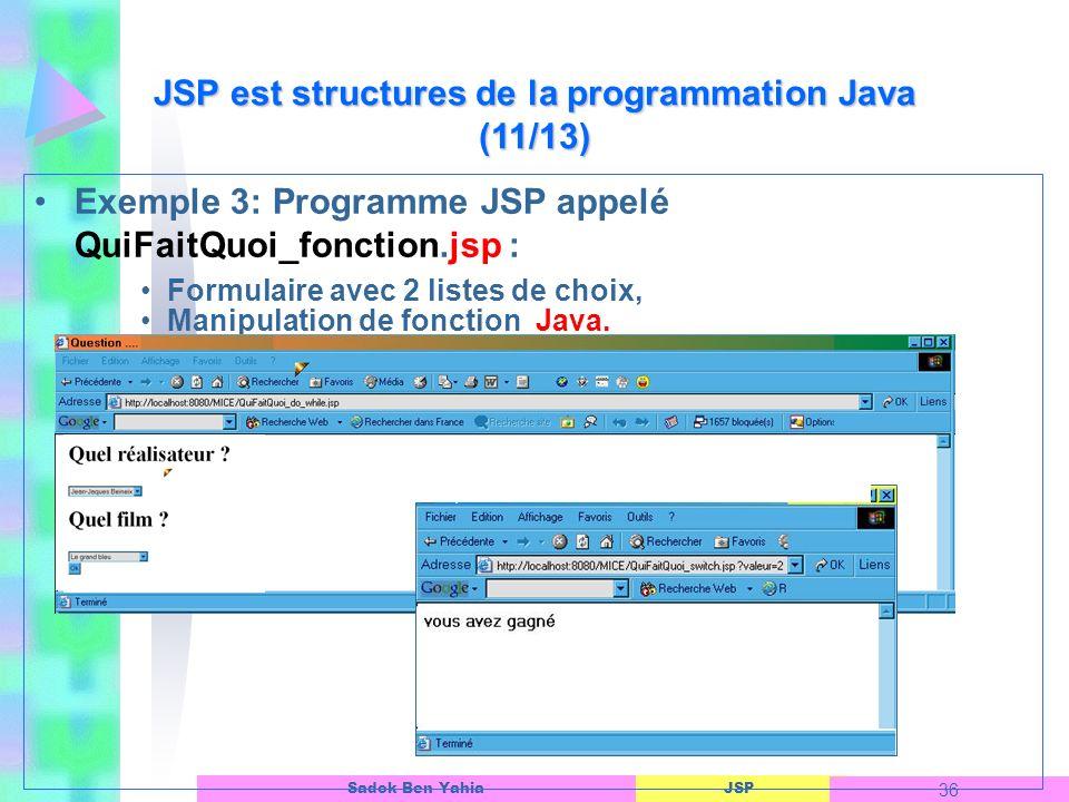 JSP est structures de la programmation Java (11/13)
