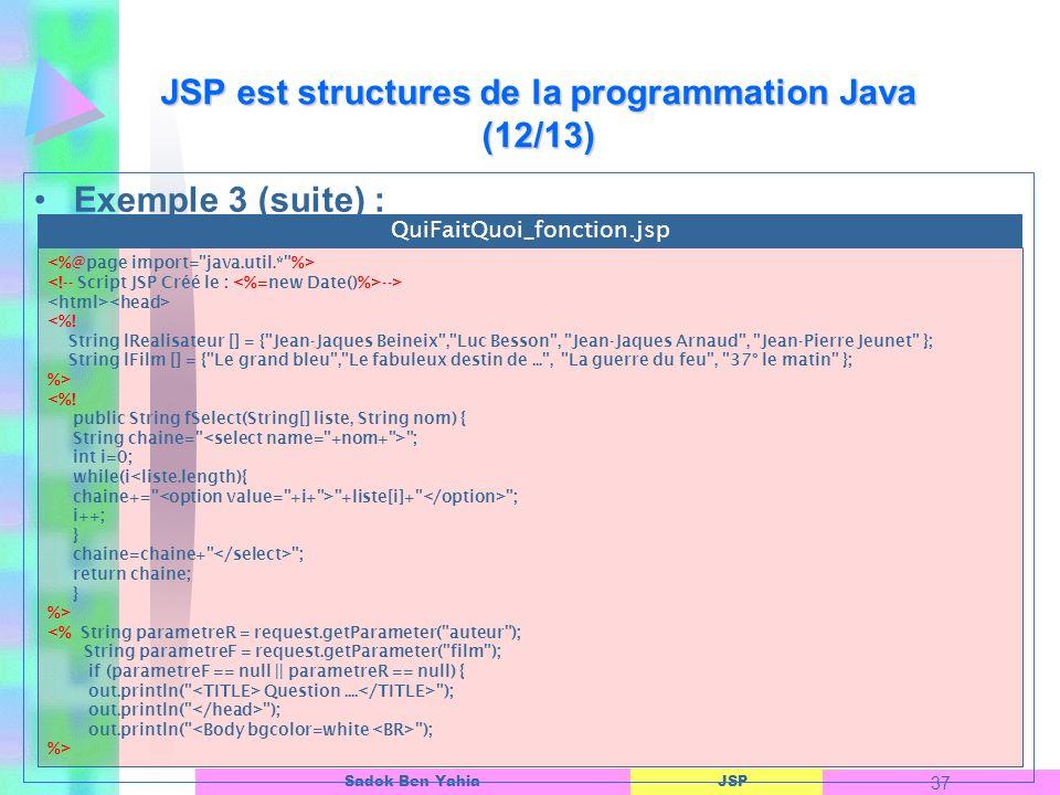 JSP est structures de la programmation Java (12/13)