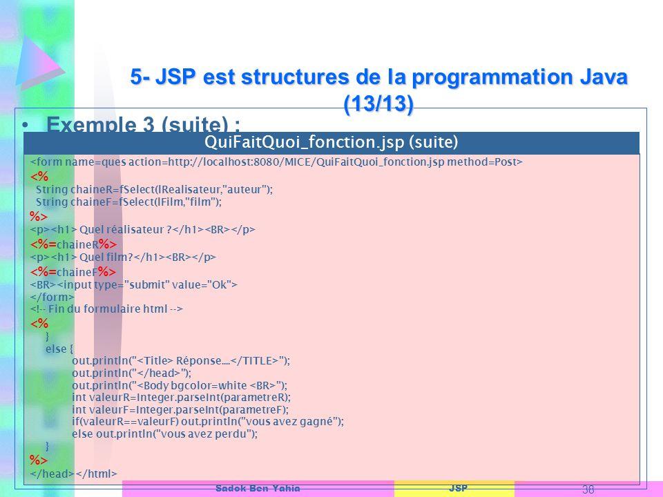 5- JSP est structures de la programmation Java (13/13)