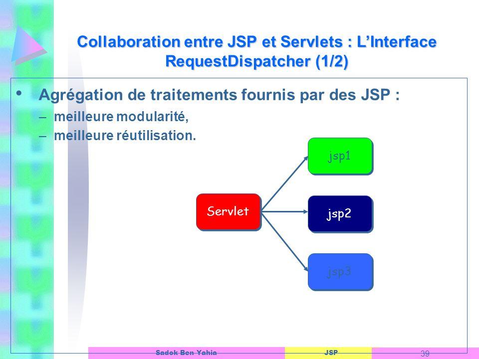 Agrégation de traitements fournis par des JSP :
