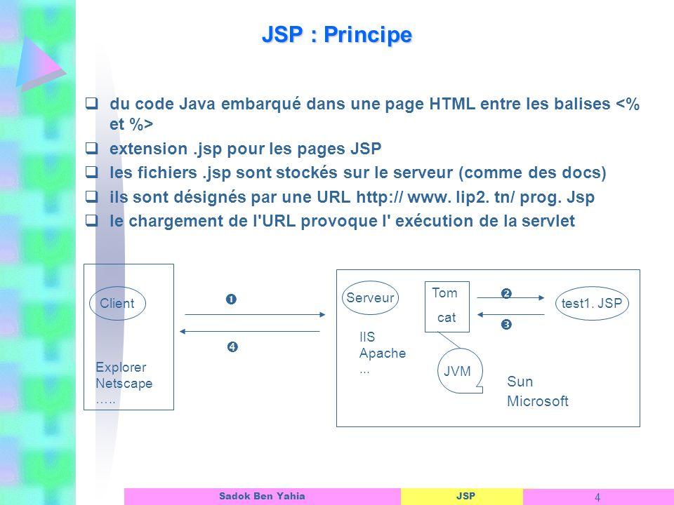 JSP : Principe du code Java embarqué dans une page HTML entre les balises <% et %> extension .jsp pour les pages JSP.