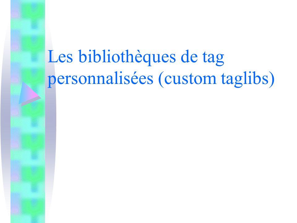 Les bibliothèques de tag personnalisées (custom taglibs)