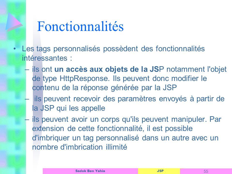 Fonctionnalités Les tags personnalisés possèdent des fonctionnalités intéressantes :